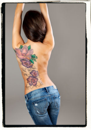 ink, tattoo, flower tattoo, back tattoo, skin