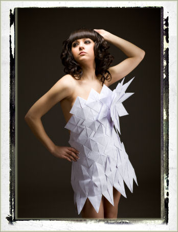 Beautiful woman wearing paper dress image